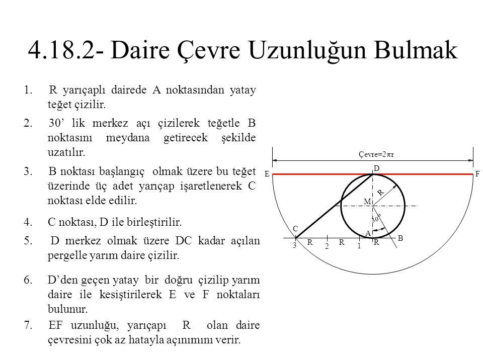 2. 30' lik merkez açı çizilerek teğetle B noktasını meydana getirecek şekilde uzatılır. 1. R yarıçaplı dairede A noktasından yatay teğet çizilir. 3. B