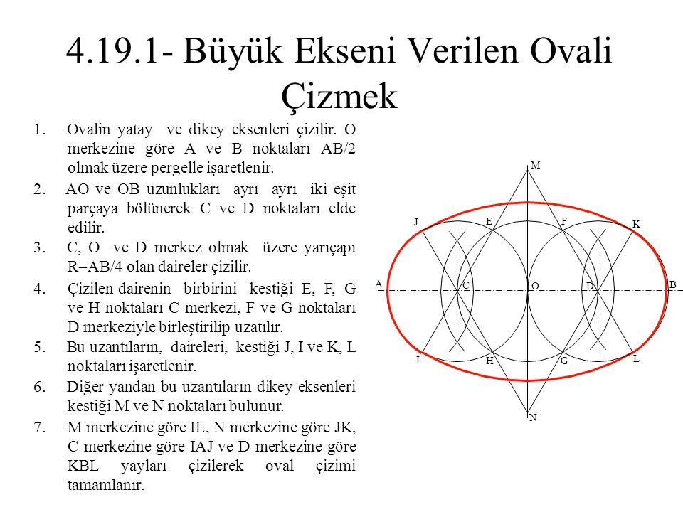 2. AO ve OB uzunlukları ayrı ayrı iki eşit parçaya bölünerek C ve D noktaları elde edilir. 1. Ovalin yatay ve dikey eksenleri çizilir. O merkezine gör