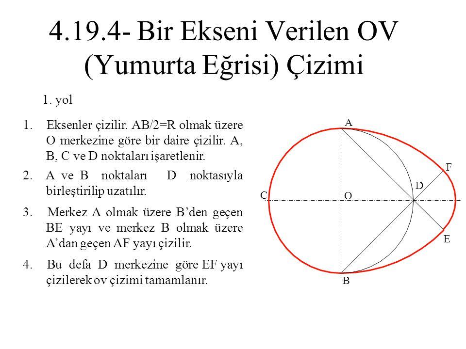 2. A ve B noktaları D noktasıyla birleştirilip uzatılır. 1. Eksenler çizilir. AB/2=R olmak üzere O merkezine göre bir daire çizilir. A, B, C ve D nokt