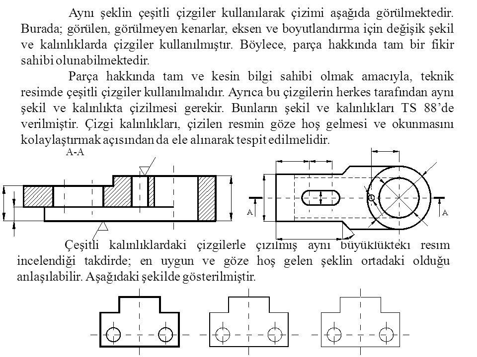 Aynı şeklin çeşitli çizgiler kullanılarak çizimi aşağıda görülmektedir. Burada; görülen, görülmeyen kenarlar, eksen ve boyutlandırma için değişik şeki