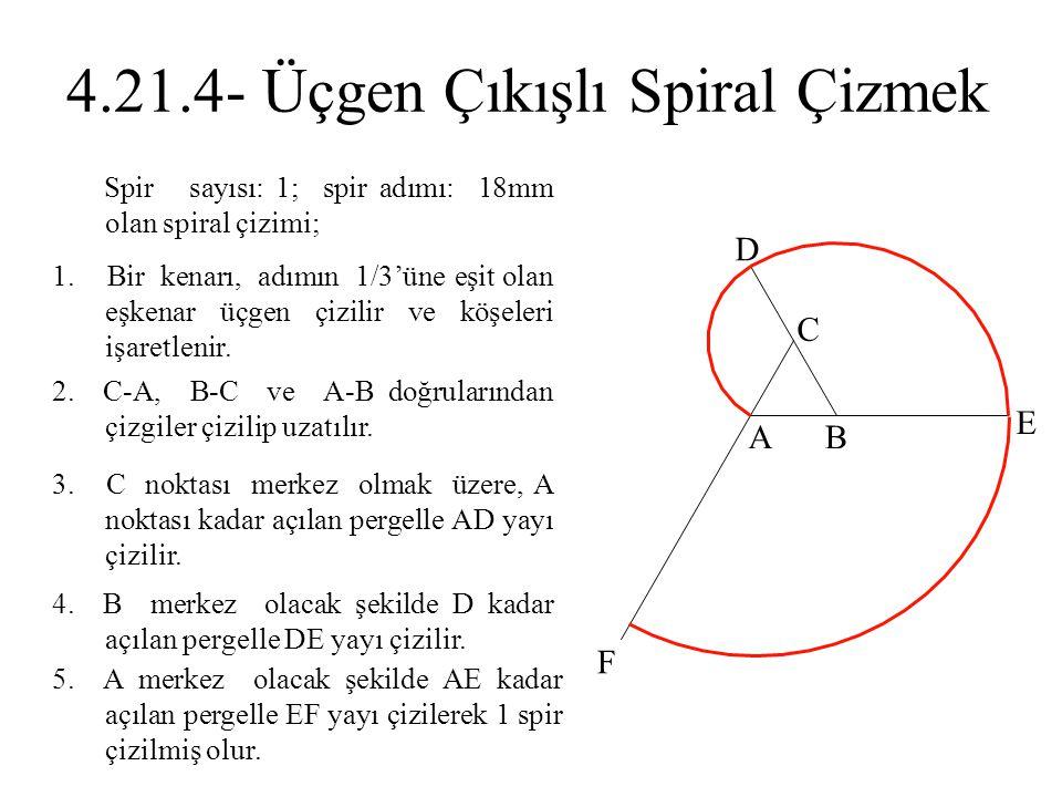 2. C-A, B-C ve A-B doğrularından çizgiler çizilip uzatılır. 1. Bir kenarı, adımın 1/3'üne eşit olan eşkenar üçgen çizilir ve köşeleri işaretlenir. 3.