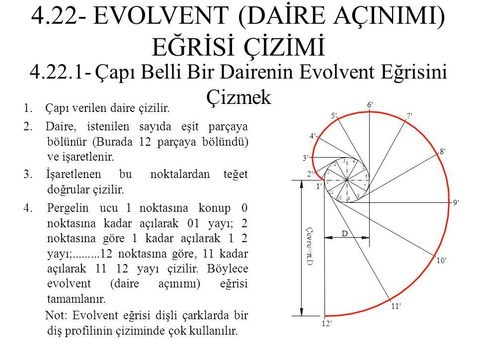 2. Daire, istenilen sayıda eşit parçaya bölünür (Burada 12 parçaya bölündü) ve işaretlenir. 1. Çapı verilen daire çizilir. 3. İşaretlenen bu noktalard