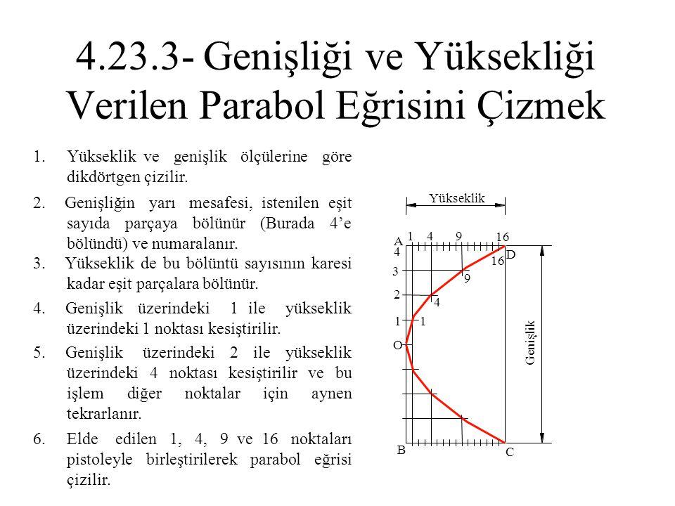 2. Genişliğin yarı mesafesi, istenilen eşit sayıda parçaya bölünür (Burada 4'e bölündü) ve numaralanır. 1. Yükseklik ve genişlik ölçülerine göre dikdö
