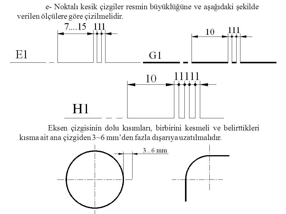 e- Noktalı kesik çizgiler resmin büyüklüğüne ve aşağıdaki şekilde verilen ölçülere göre çizilmelidir. Eksen çizgisinin dolu kısımları, birbirini kesme