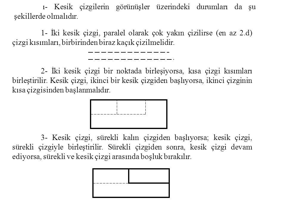 ı- Kesik çizgilerin görünüşler üzerindeki durumları da şu şekillerde olmalıdır. 1- İki kesik çizgi, paralel olarak çok yakın çizilirse (en az 2.d) çiz