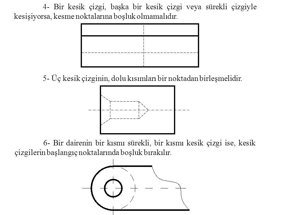 4- Bir kesik çizgi, başka bir kesik çizgi veya sürekli çizgiyle kesişiyorsa, kesme noktalarına boşluk olmamalıdır. 5- Üç kesik çizginin, dolu kısımlar