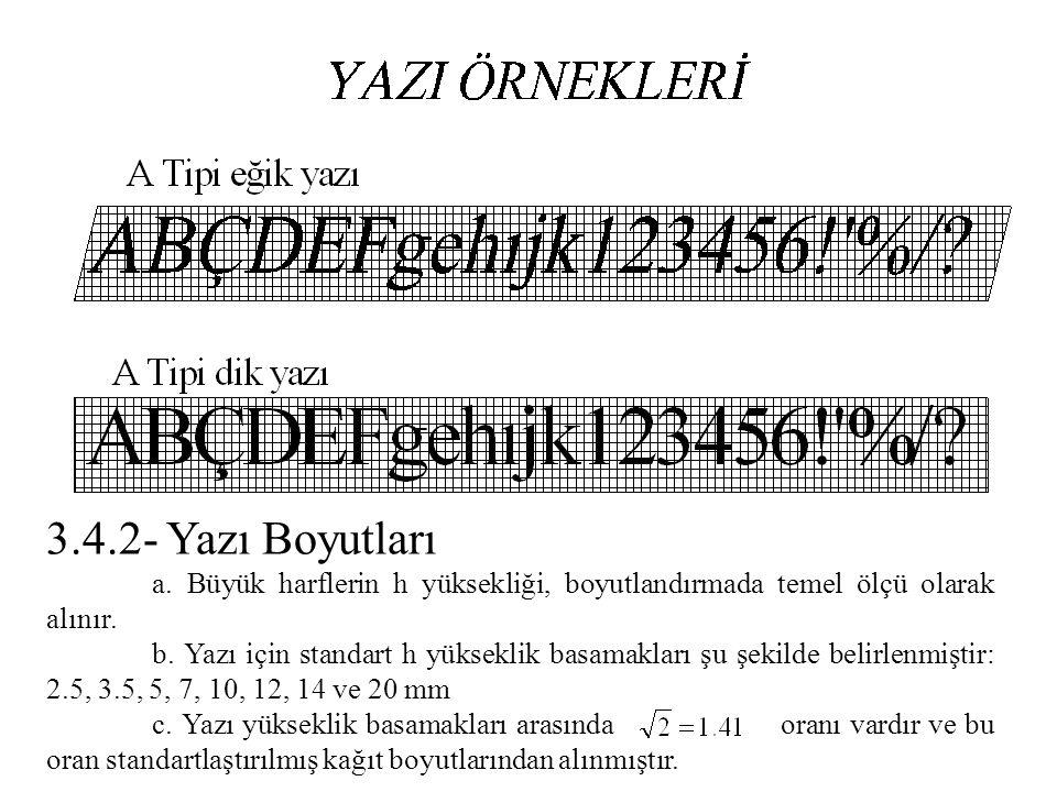 3.4.2- Yazı Boyutları a. Büyük harflerin h yüksekliği, boyutlandırmada temel ölçü olarak alınır. b. Yazı için standart h yükseklik basamakları şu şeki