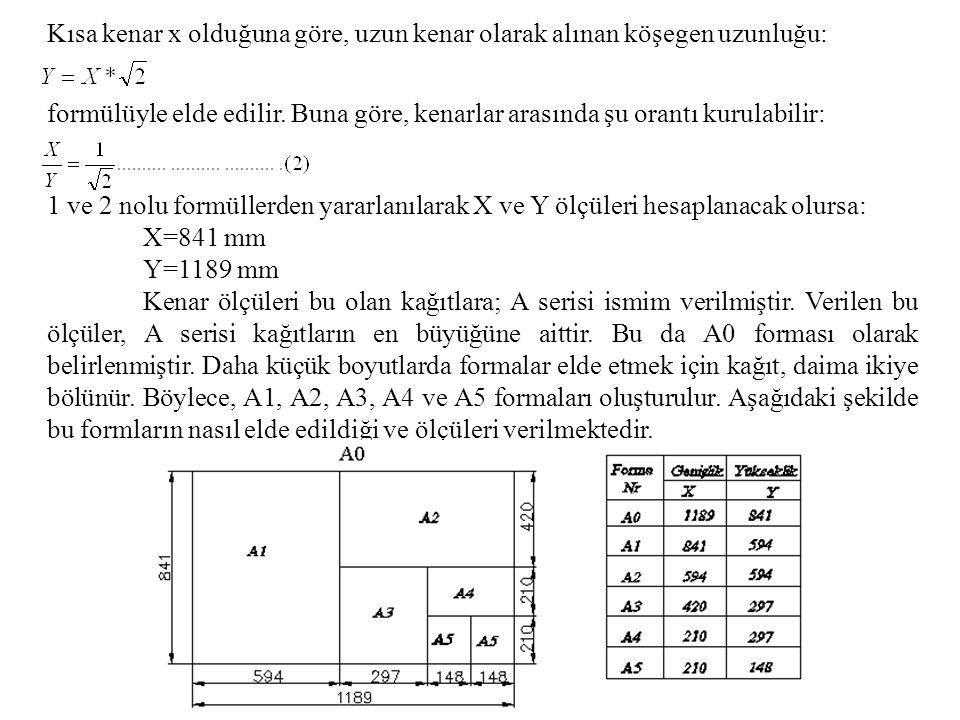 1 ve 2 nolu formüllerden yararlanılarak X ve Y ölçüleri hesaplanacak olursa: X=841 mm Y=1189 mm Kenar ölçüleri bu olan kağıtlara; A serisi ismim veril