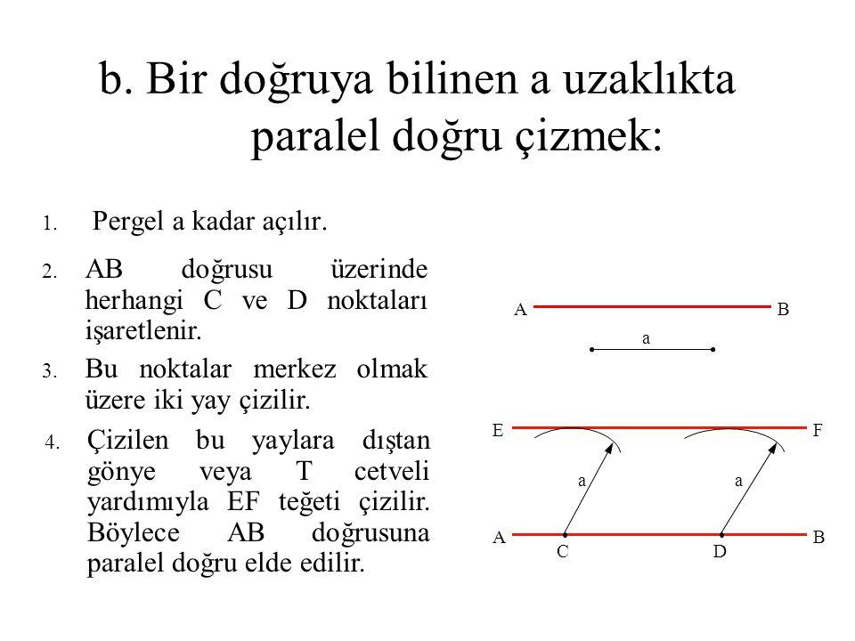 b. Bir doğruya bilinen a uzaklıkta paralel doğru çizmek: 1. Pergel a kadar açılır. 2. AB doğrusu üzerinde herhangi C ve D noktaları işaretlenir. 3. Bu