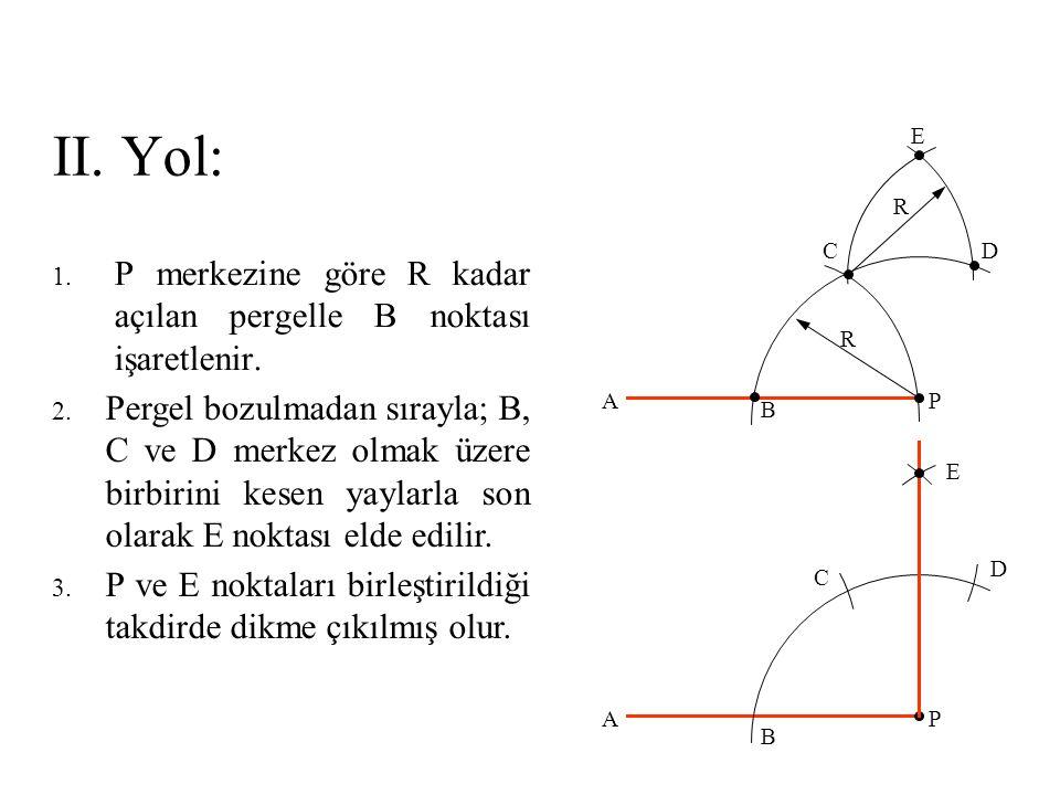 II. Yol: 1. P merkezine göre R kadar açılan pergelle B noktası işaretlenir. 2. Pergel bozulmadan sırayla; B, C ve D merkez olmak üzere birbirini kesen