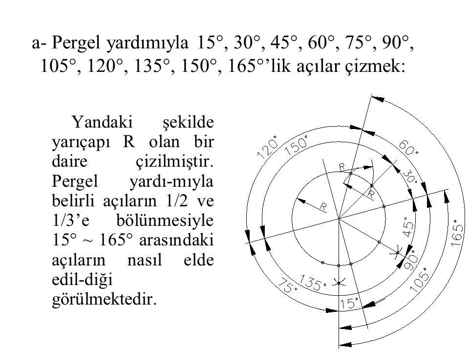 a- Pergel yardımıyla 15°, 30°, 45°, 60°, 75°, 90°, 105°, 120°, 135°, 150°, 165°'lik açılar çizmek: Yandaki şekilde yarıçapı R olan bir daire çizilmişt