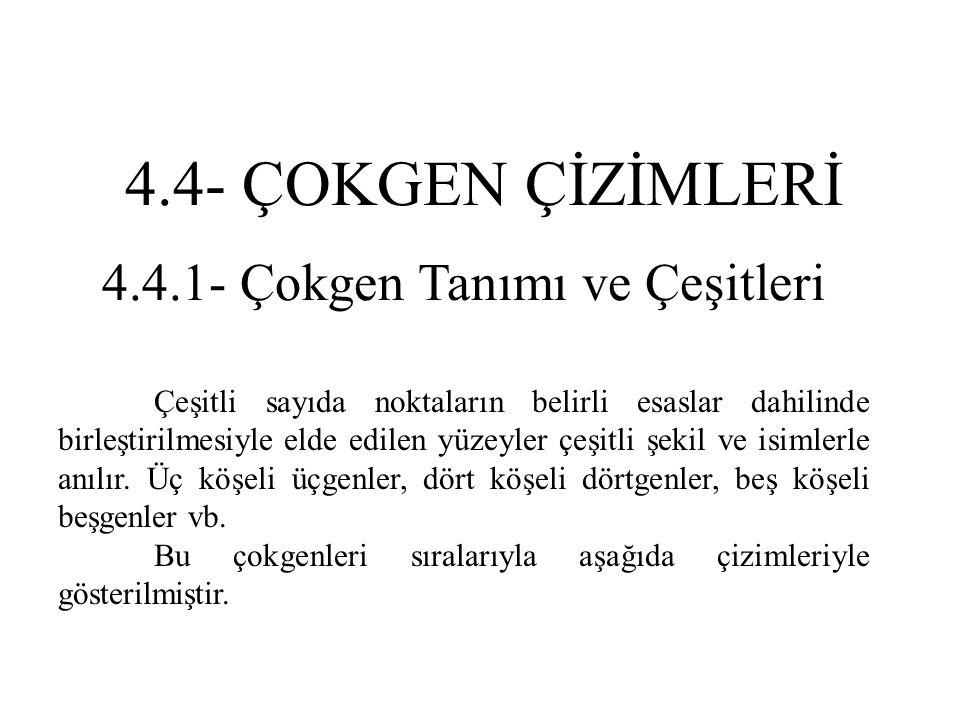4.4.1- Çokgen Tanımı ve Çeşitleri Çeşitli sayıda noktaların belirli esaslar dahilinde birleştirilmesiyle elde edilen yüzeyler çeşitli şekil ve isimler