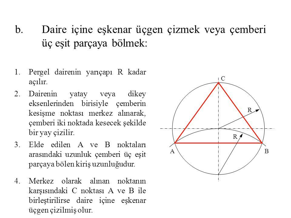 1.Pergel dairenin yarıçapı R kadar açılır. 2.Dairenin yatay veya dikey eksenlerinden birisiyle çemberin kesişme noktası merkez alınarak, çemberi iki n