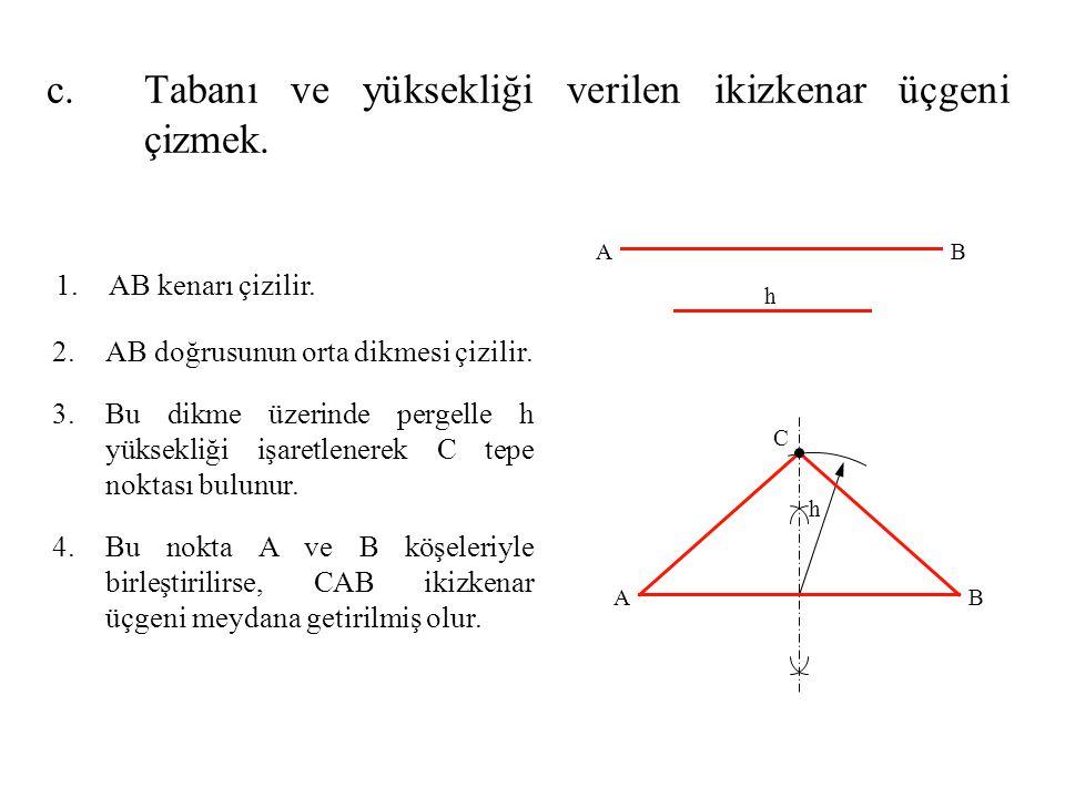 1.AB kenarı çizilir. 2.AB doğrusunun orta dikmesi çizilir. 3.Bu dikme üzerinde pergelle h yüksekliği işaretlenerek C tepe noktası bulunur. 4.Bu nokta