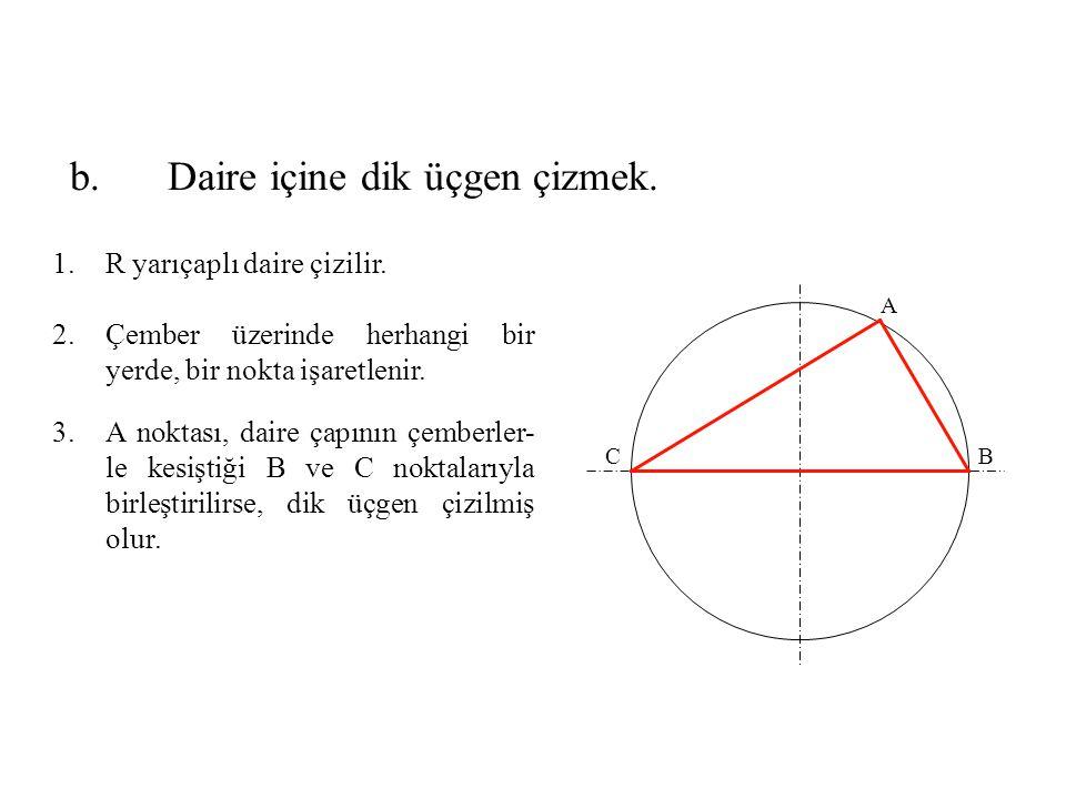1.R yarıçaplı daire çizilir. 2.Çember üzerinde herhangi bir yerde, bir nokta işaretlenir. 3.A noktası, daire çapının çemberler- le kesiştiği B ve C no