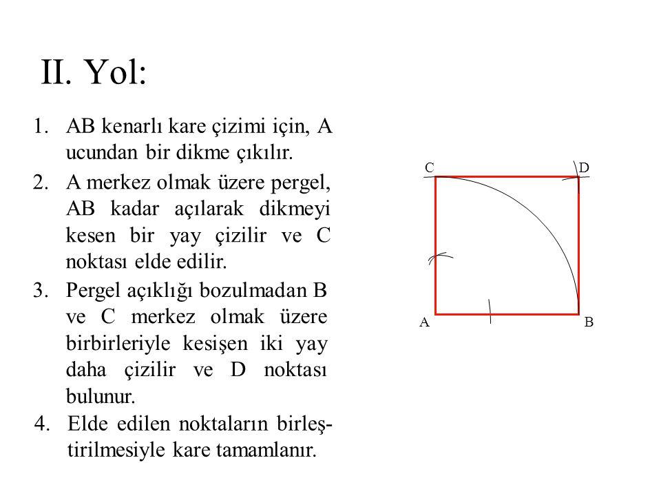 1.AB kenarlı kare çizimi için, A ucundan bir dikme çıkılır. 2.A merkez olmak üzere pergel, AB kadar açılarak dikmeyi kesen bir yay çizilir ve C noktas