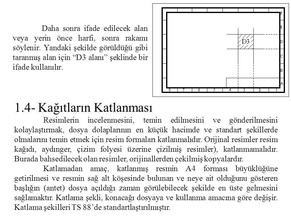 2.O merkezinden 45' lik açılar çizilerek E ve F noktaları bulunur.