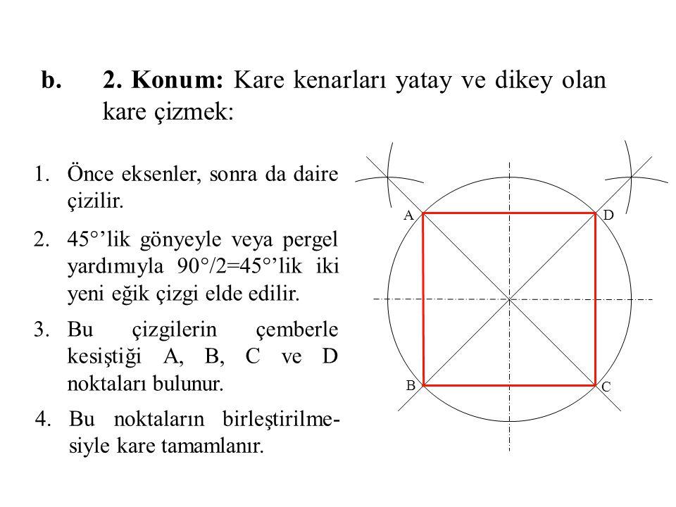 1.Önce eksenler, sonra da daire çizilir. 2.45°'lik gönyeyle veya pergel yardımıyla 90°/2=45°'lik iki yeni eğik çizgi elde edilir. 3.Bu çizgilerin çemb
