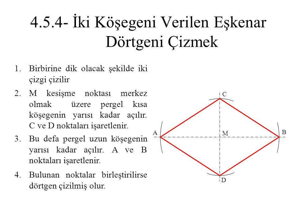 1.Birbirine dik olacak şekilde iki çizgi çizilir 2.M kesişme noktası merkez olmak üzere pergel kısa köşegenin yarısı kadar açılır. C ve D noktaları iş