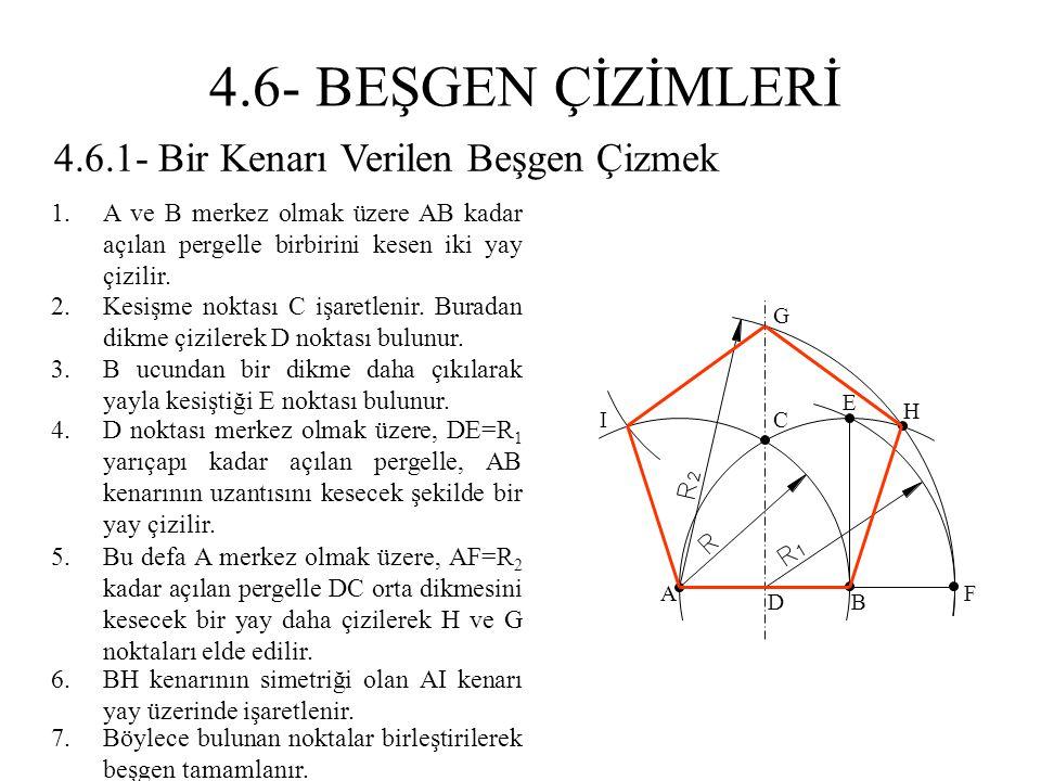4.6.1- Bir Kenarı Verilen Beşgen Çizmek 1.A ve B merkez olmak üzere AB kadar açılan pergelle birbirini kesen iki yay çizilir. 2.Kesişme noktası C işar