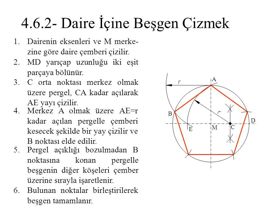 1.Dairenin eksenleri ve M merke- zine göre daire çemberi çizilir. 2.MD yarıçap uzunluğu iki eşit parçaya bölünür. 3.C orta noktası merkez olmak üzere