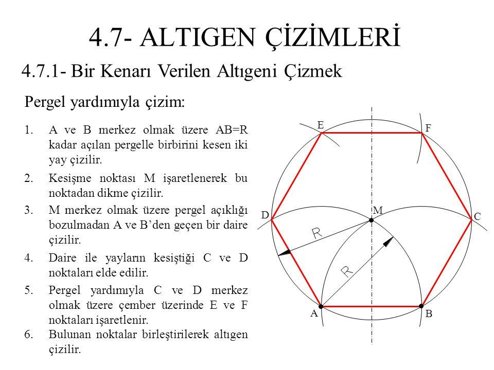 4.7.1- Bir Kenarı Verilen Altıgeni Çizmek 1.A ve B merkez olmak üzere AB=R kadar açılan pergelle birbirini kesen iki yay çizilir. 2.Kesişme noktası M