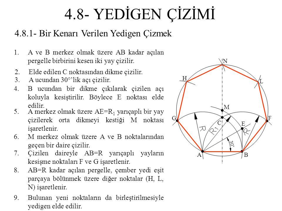 4.8.1- Bir Kenarı Verilen Yedigen Çizmek 1.A ve B merkez olmak üzere AB kadar açılan pergelle birbirini kesen iki yay çizilir. 2.Elde edilen C noktası