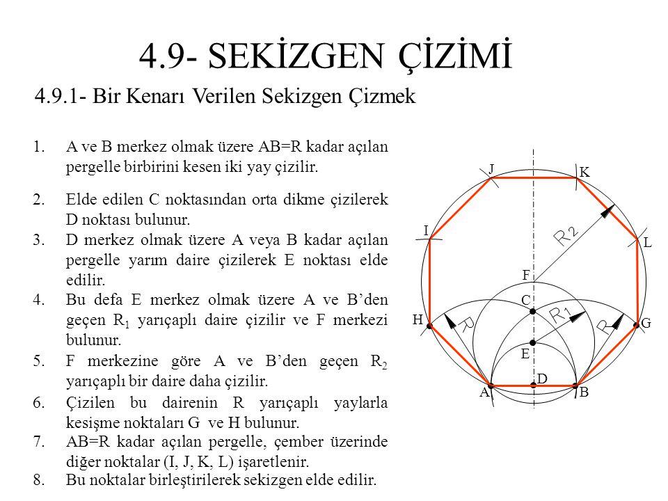 4.9.1- Bir Kenarı Verilen Sekizgen Çizmek 1.A ve B merkez olmak üzere AB=R kadar açılan pergelle birbirini kesen iki yay çizilir. 2.Elde edilen C nokt