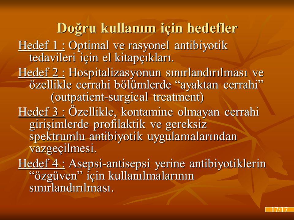 Doğru kullanım için hedefler Hedef 1 : Optimal ve rasyonel antibiyotik tedavileri için el kitapçıkları. Hedef 2 : Hospitalizasyonun sınırlandırılması
