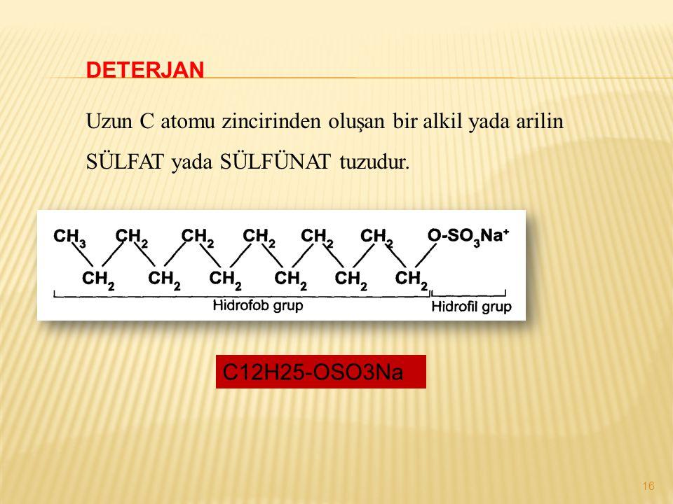 DETERJAN Uzun C atomu zincirinden oluşan bir alkil yada arilin SÜLFAT yada SÜLFÜNAT tuzudur. C12H25-OSO3Na 16