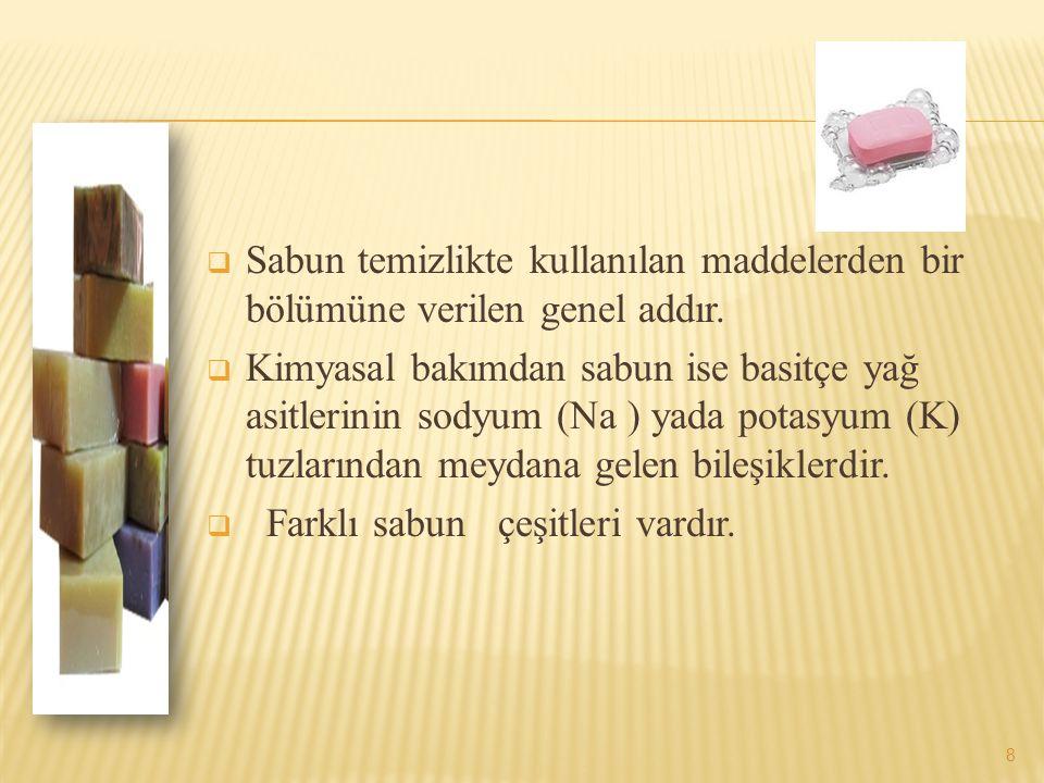  Sabun temizlikte kullanılan maddelerden bir bölümüne verilen genel addır.  Kimyasal bakımdan sabun ise basitçe yağ asitlerinin sodyum (Na ) yada po