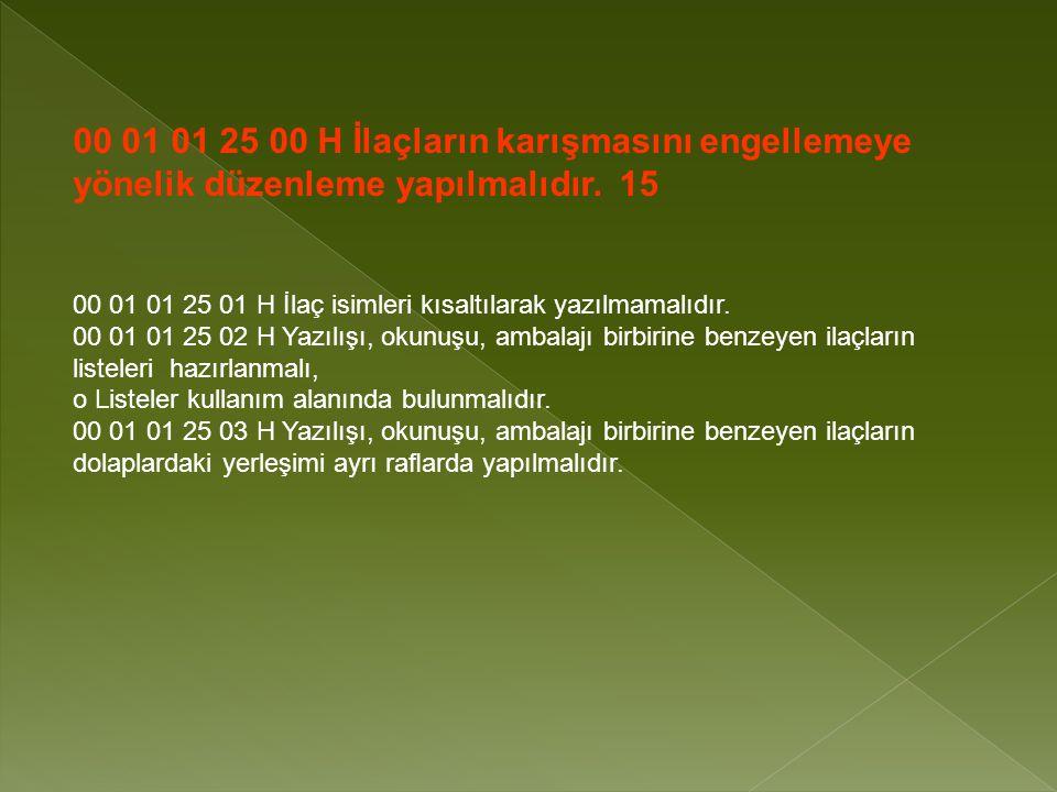 00 01 01 25 00 H İlaçların karışmasını engellemeye yönelik düzenleme yapılmalıdır.