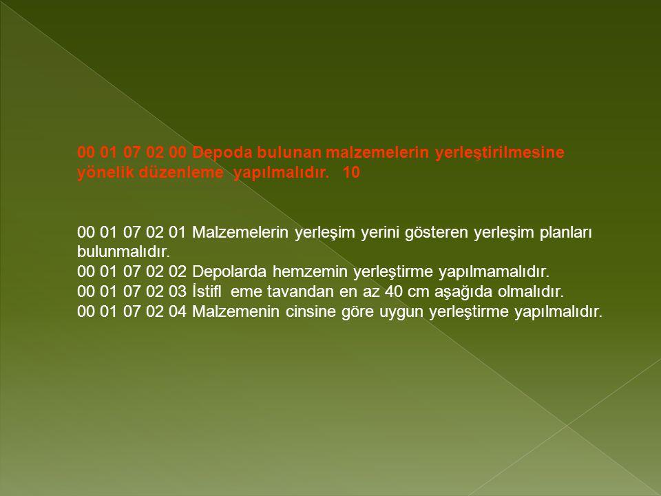00 01 07 02 00 Depoda bulunan malzemelerin yerleştirilmesine yönelik düzenleme yapılmalıdır.