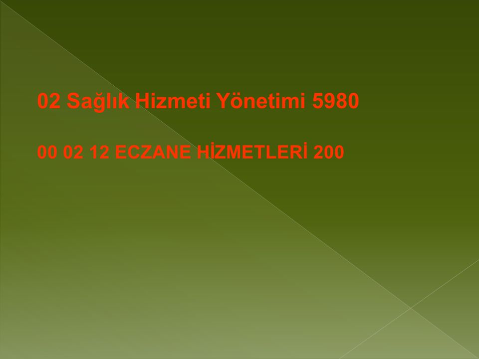 00 02 12 ECZANE HİZMETLERİ 200 02 Sağlık Hizmeti Yönetimi 5980
