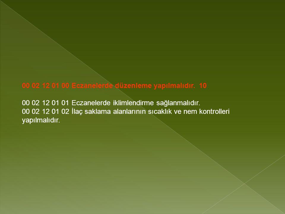 00 02 12 01 00 Eczanelerde düzenleme yapılmalıdır.