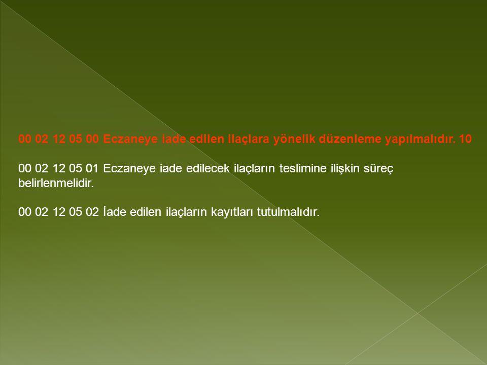 00 02 12 05 00 Eczaneye iade edilen ilaçlara yönelik düzenleme yapılmalıdır.