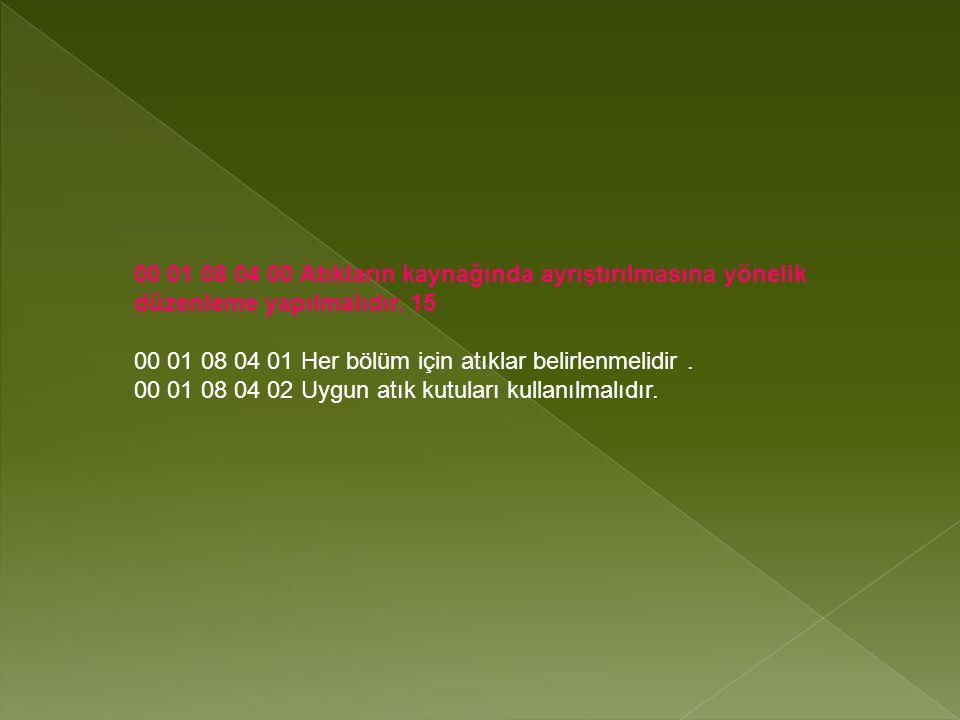 00 01 08 04 00 Atıkların kaynağında ayrıştırılmasına yönelik düzenleme yapılmalıdır.
