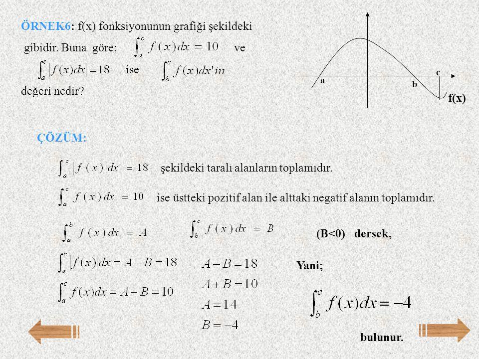 ÖRNEK6: f(x) fonksiyonunun grafiği şekildeki gibidir. Buna göre; ve ise değeri nedir? a b c f(x) ÇÖZÜM: ise üstteki pozitif alan ile alttaki negatif a