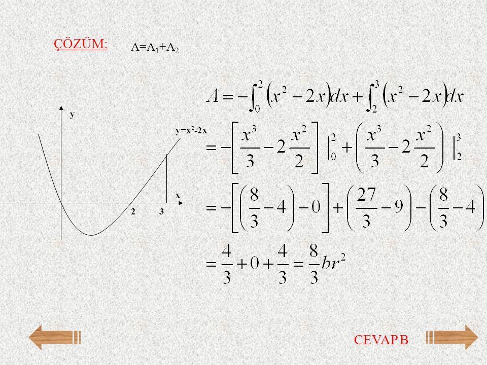 ÇÖZÜM: A=A 1 +A 2 y=x 2 -2x y x 32 CEVAP B