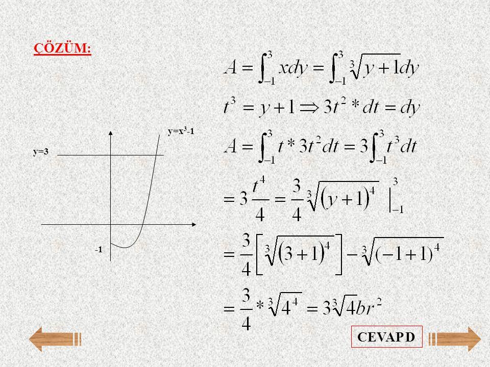 ÇÖZÜM: y=3 y=x 3 -1 CEVAP D