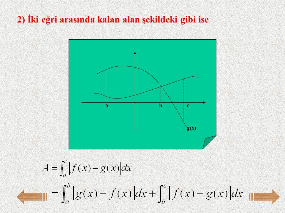 2) İki eğri arasında kalan alan şekildeki gibi ise f(x) abc g(x)