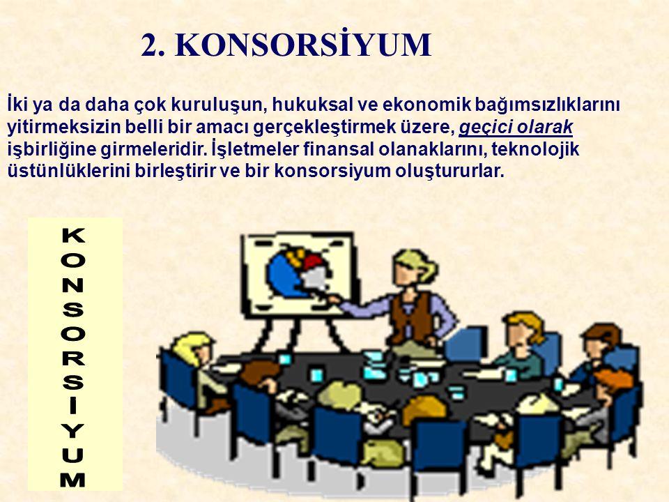 2. KONSORSİYUM İki ya da daha çok kuruluşun, hukuksal ve ekonomik bağımsızlıklarını yitirmeksizin belli bir amacı gerçekleştirmek üzere, geçici olarak