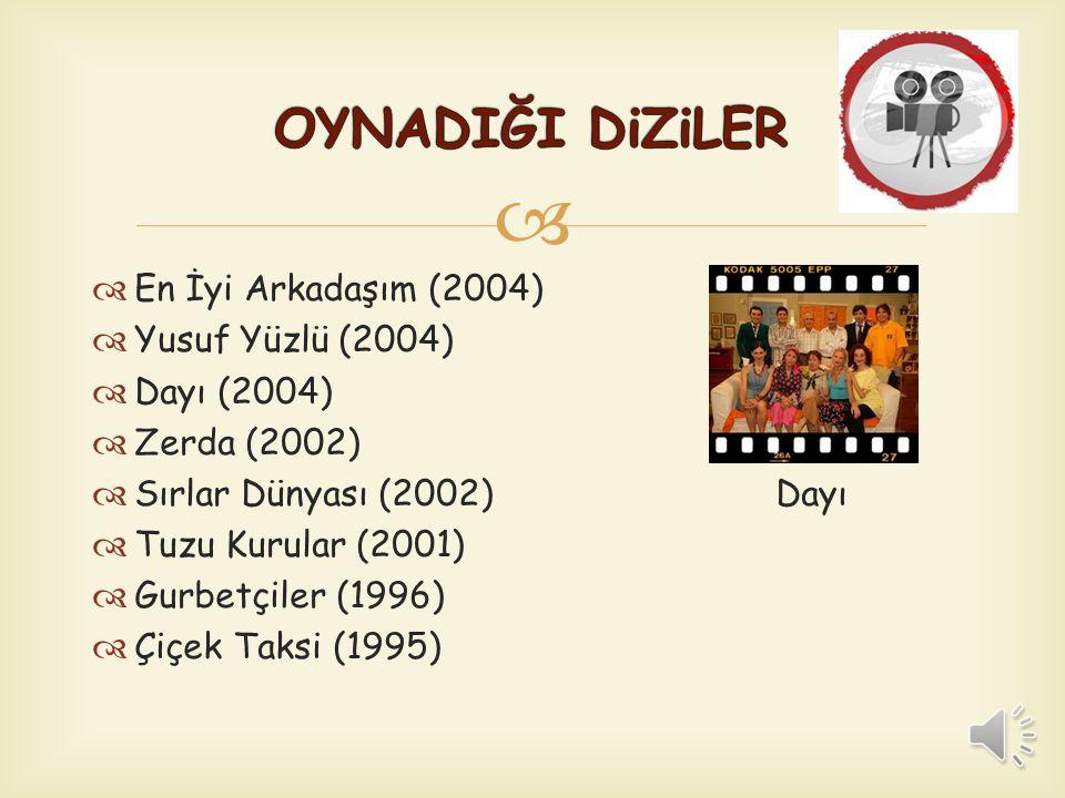   En İyi Arkadaşım (2004)  Yusuf Yüzlü (2004)  Dayı (2004)  Zerda (2002)  Sırlar Dünyası (2002) Dayı  Tuzu Kurular (2001)  Gurbetçiler (1996)  Çiçek Taksi (1995)