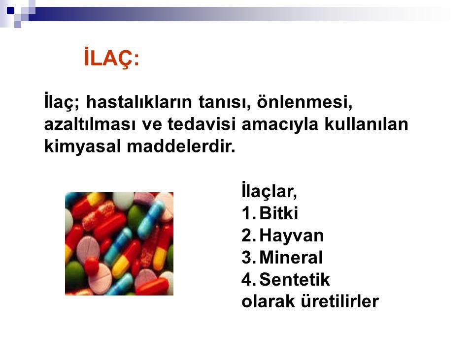 İlaç; hastalıkların tanısı, önlenmesi, azaltılması ve tedavisi amacıyla kullanılan kimyasal maddelerdir. İlaçlar, 1.Bitki 2.Hayvan 3.Mineral 4.Senteti