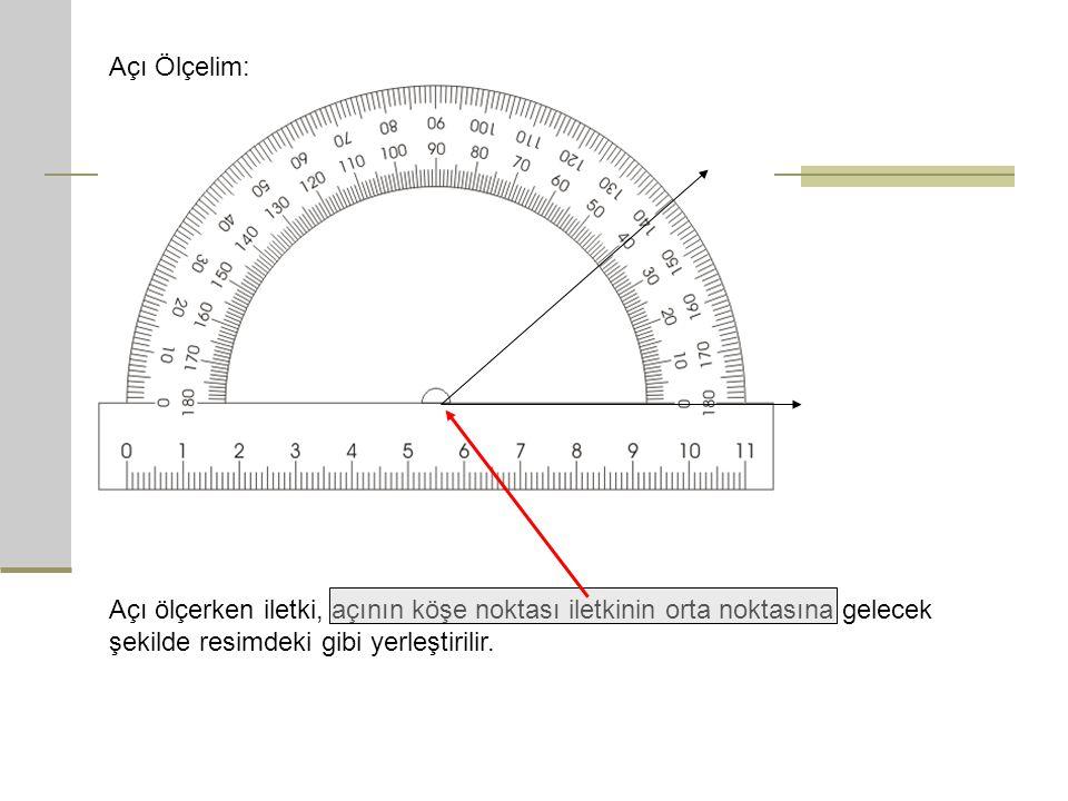 Açı Ölçelim: Açı ölçerken iletki, açının köşe noktası iletkinin orta noktasına gelecek şekilde resimdeki gibi yerleştirilir.