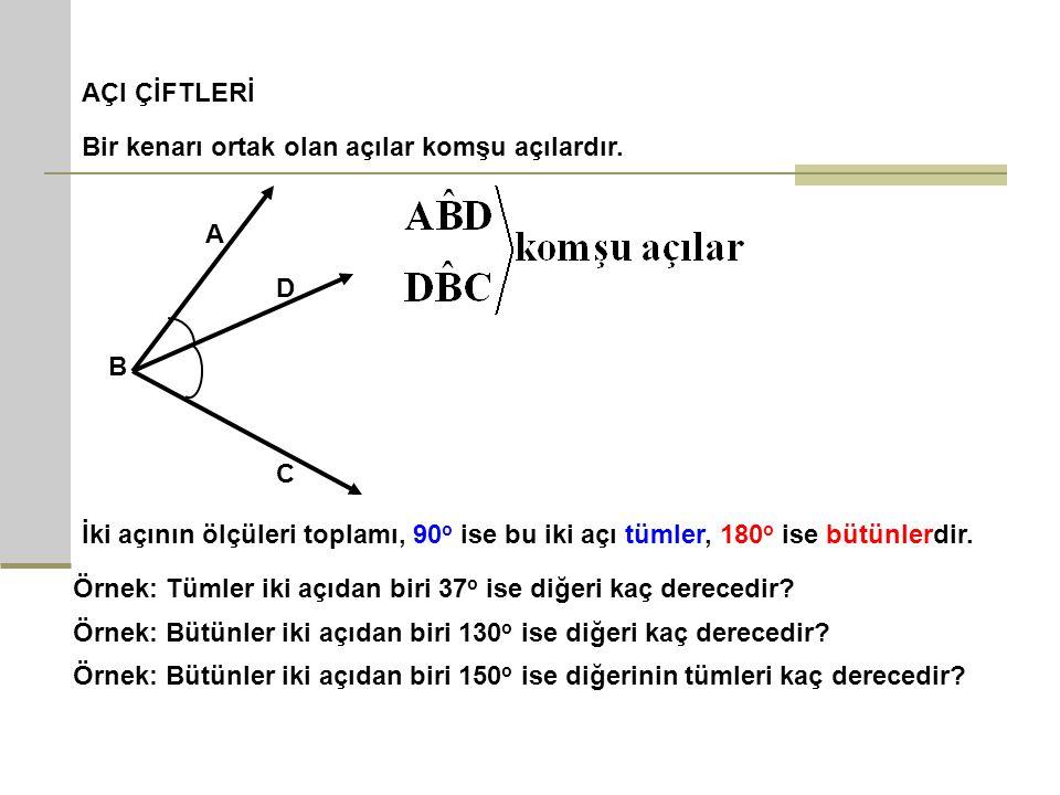 AÇI ÇİFTLERİ Bir kenarı ortak olan açılar komşu açılardır. A B C D İki açının ölçüleri toplamı, 90 o ise bu iki açı tümler, 180 o ise bütünlerdir. Örn