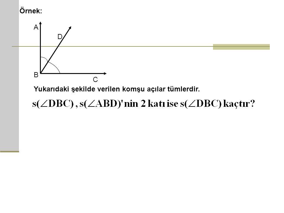 Örnek: D A B C Yukarıdaki şekilde verilen komşu açılar tümlerdir.