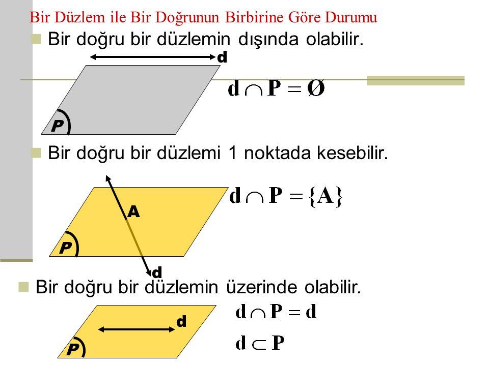 Bir Düzlem ile Bir Doğrunun Birbirine Göre Durumu BBir doğru bir düzlemin dışında olabilir. P d BBir doğru bir düzlemi 1 noktada kesebilir. P d A