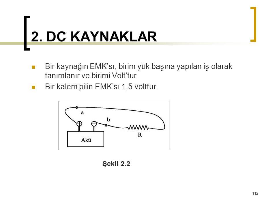 2. DC KAYNAKLAR  Bir kaynağın EMK'sı, birim yük başına yapılan iş olarak tanımlanır ve birimi Volt'tur.  Bir kalem pilin EMK'sı 1,5 volttur. 112 Şek