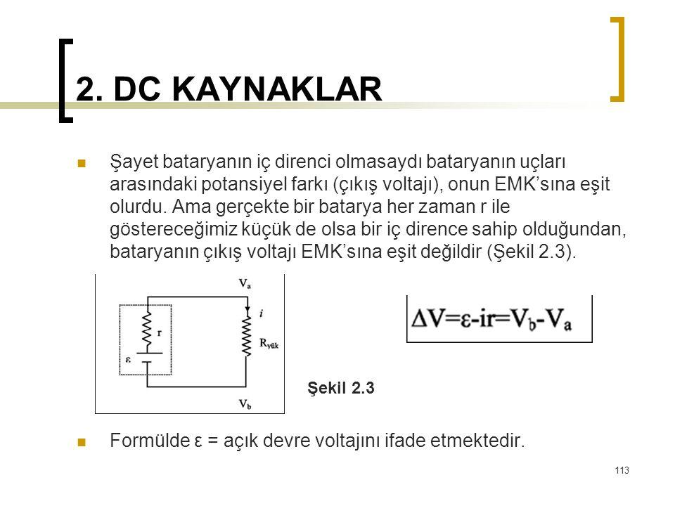 2. DC KAYNAKLAR  Şayet bataryanın iç direnci olmasaydı bataryanın uçları arasındaki potansiyel farkı (çıkış voltajı), onun EMK'sına eşit olurdu. Ama